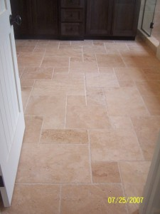 French Pattern travertine installation,bathroom floor